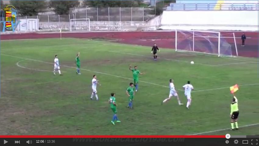 Un fermo immagine tratto dal video pubblicato nel canale Youtube del Sorso calcio